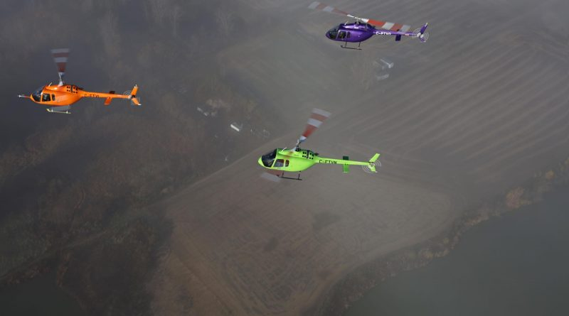 3 Bell 505 flying in formation