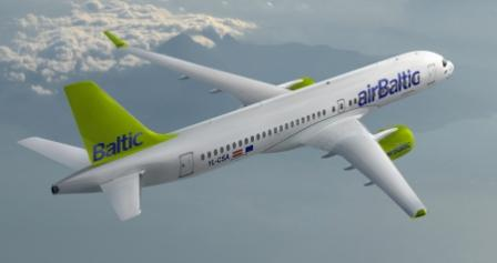 CS300 Air Baltic in flight