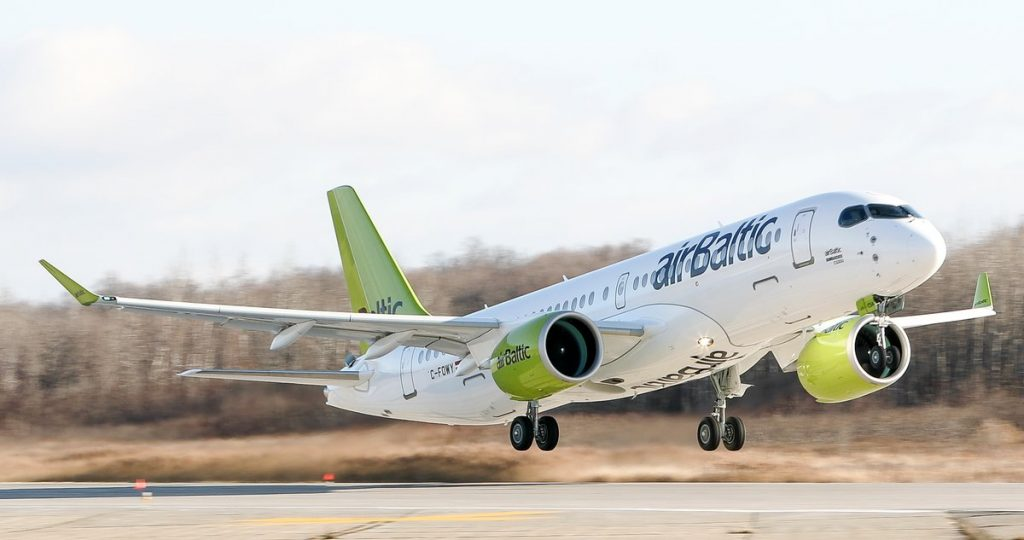 Air Baltic's first A220-300 taking off for the first time
