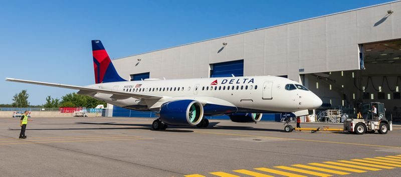 First-Delta-A220-rolls-out-of-paintshop-in-Mirabel-2