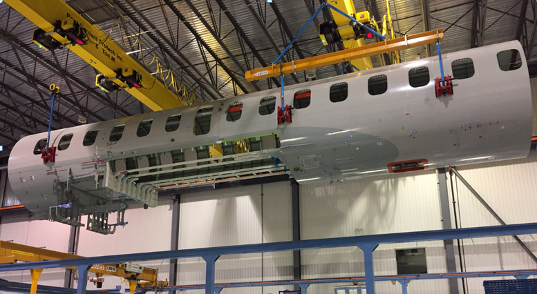 STELIA's Global7500 assembly line in Mirabel