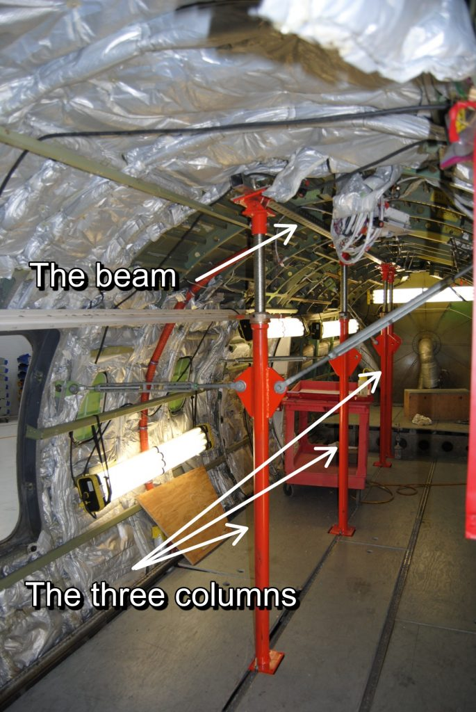 The beam and the three columns