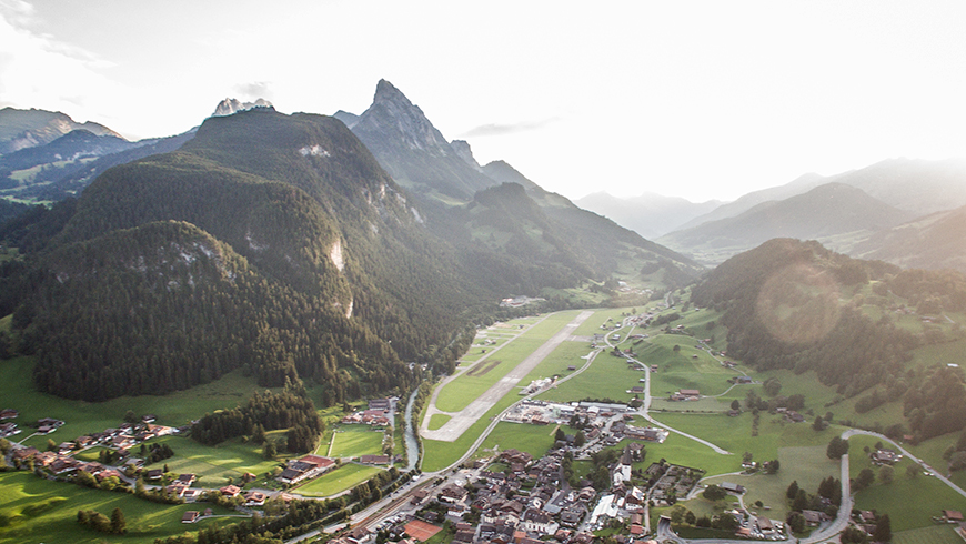 Saanen/Gstaad airport is located in a valley